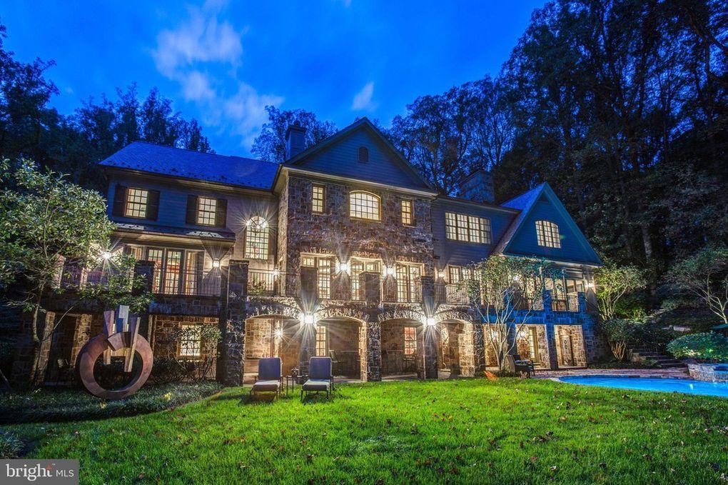 mansion, night, facade