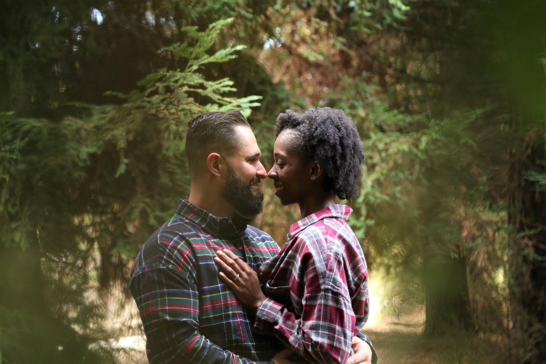 couple, woods