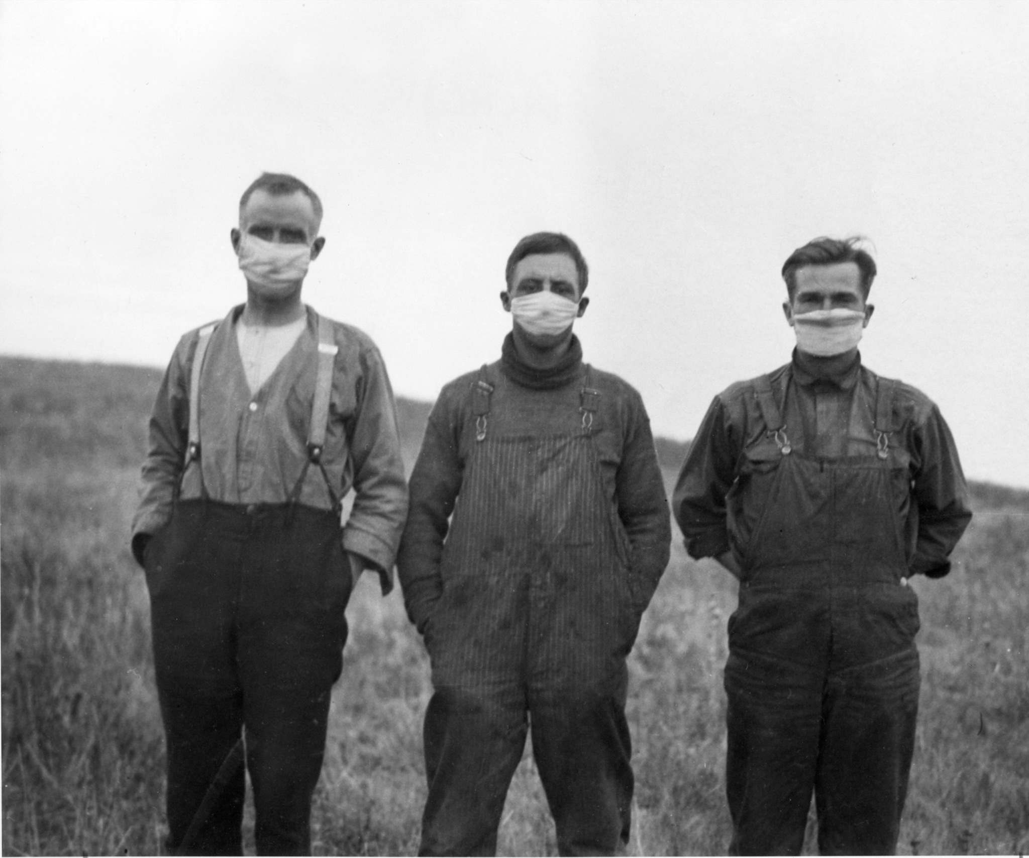Boys in masks in Alberta during the 1918 flu epidemic
