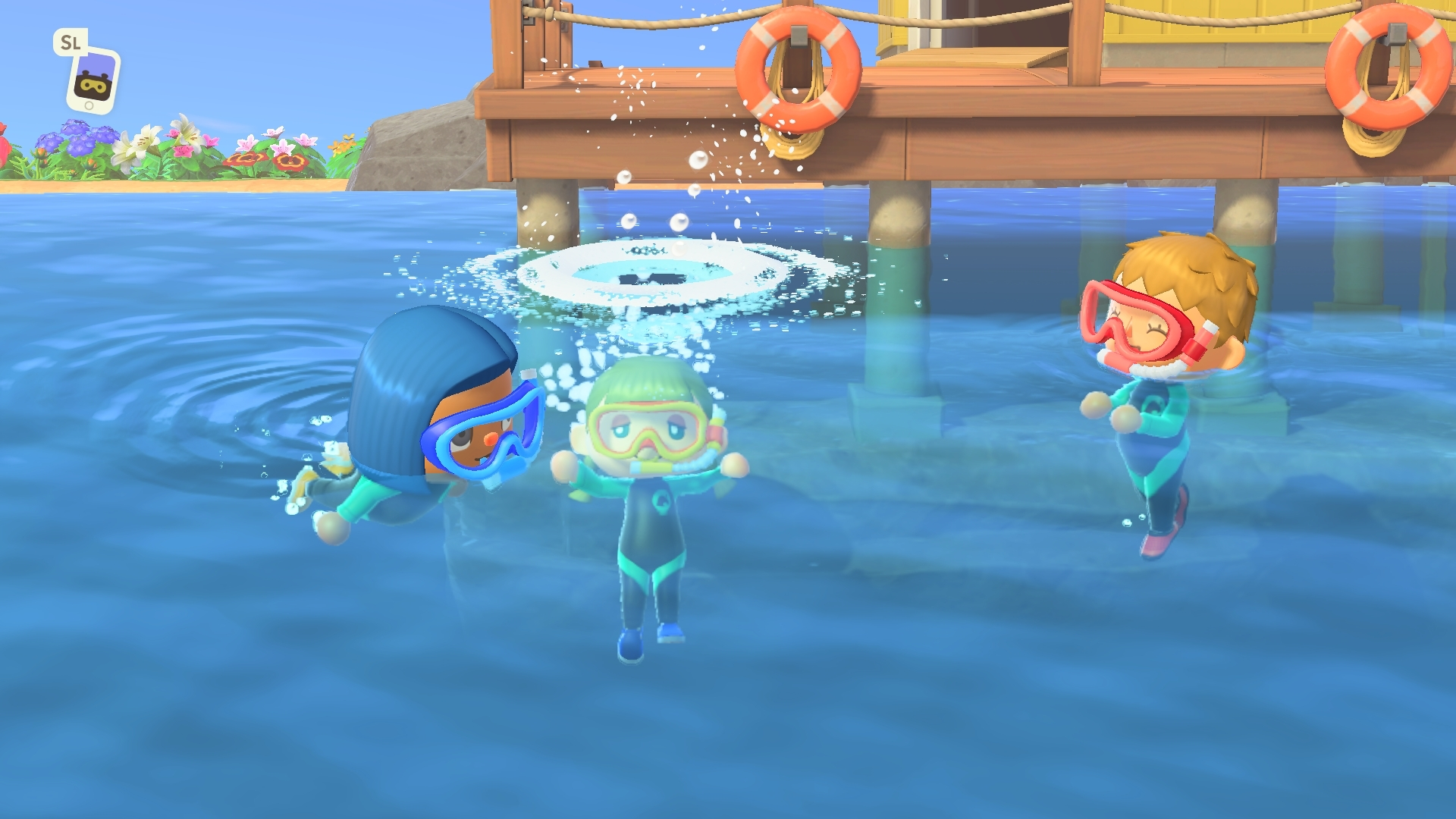 Game characters swimming in the ocean