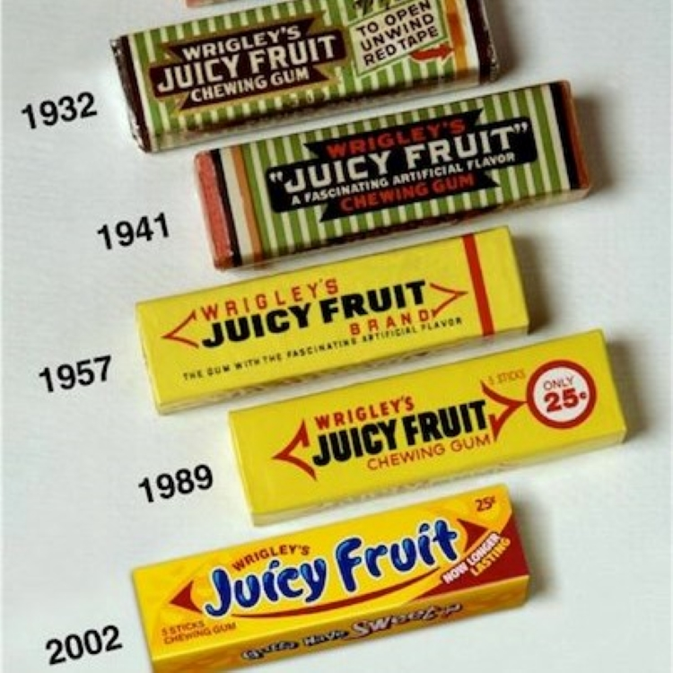 Styles of Juicy Fruit gum packs over the years