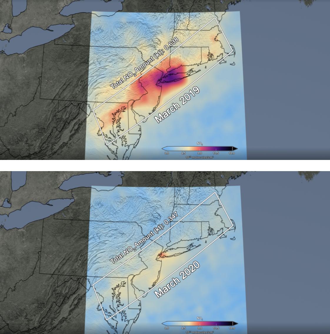 NASA map of air quality