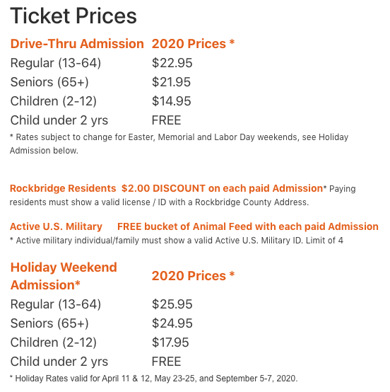 safari park ticket prices