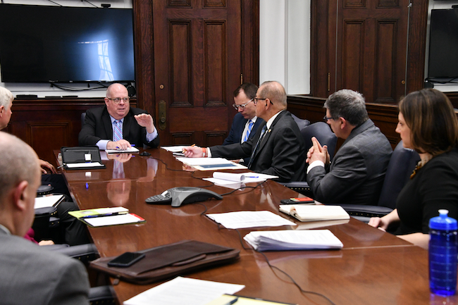 Governor Hogan meets with members of the long-term care community about the coronavirus.