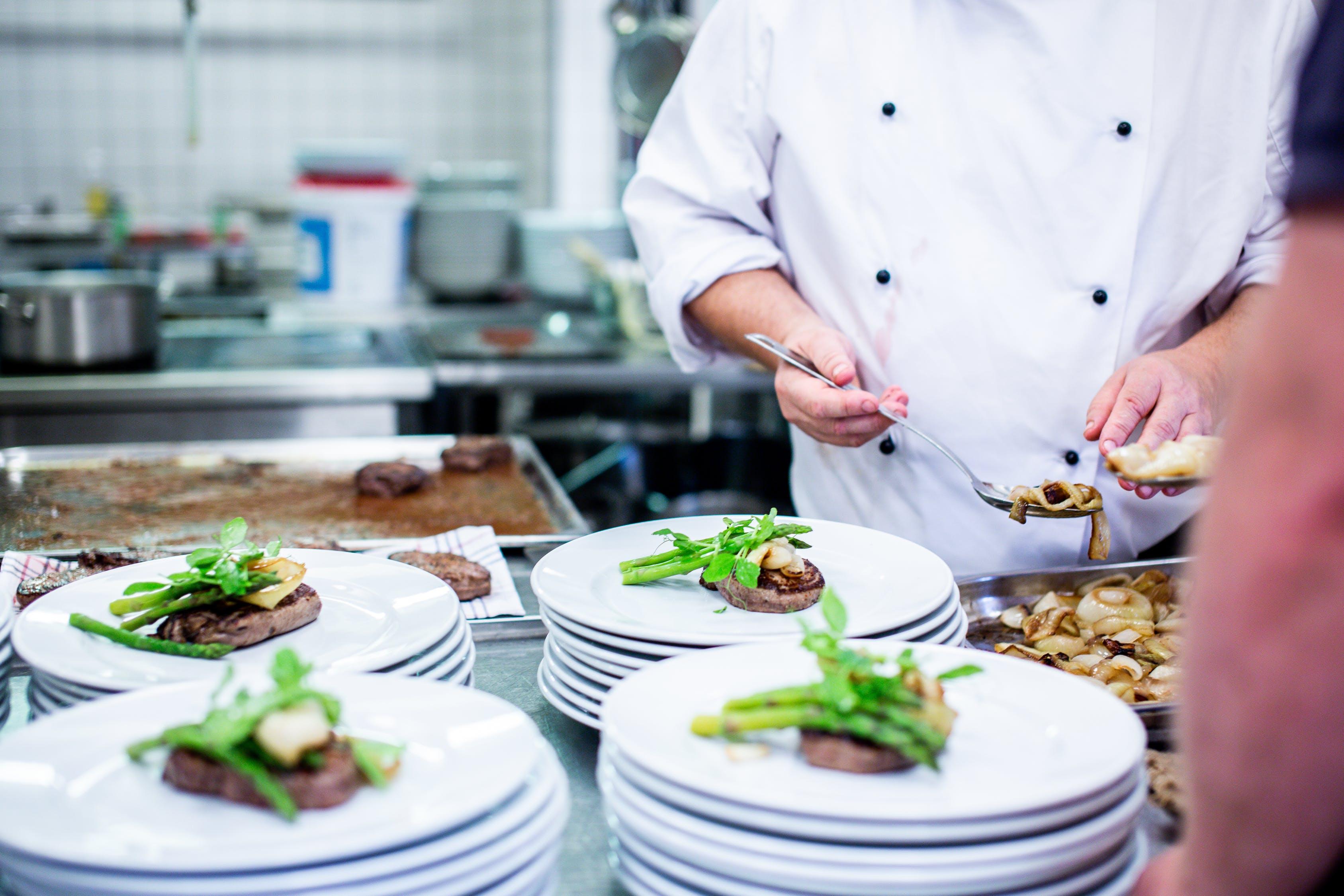 chef, plates, food