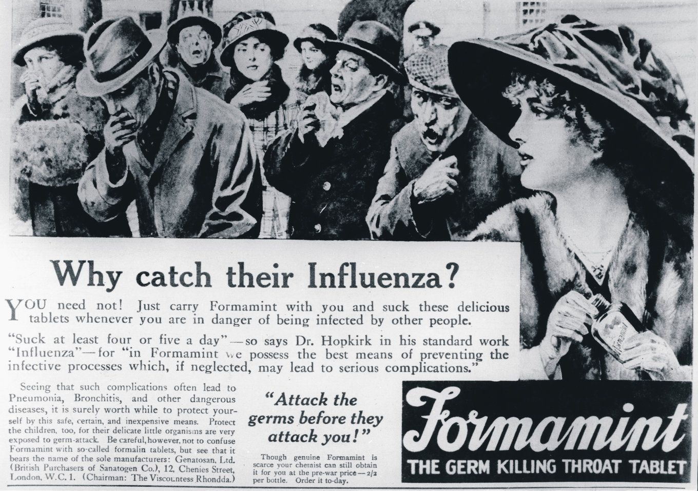Historic 1918 influenza public health ad (