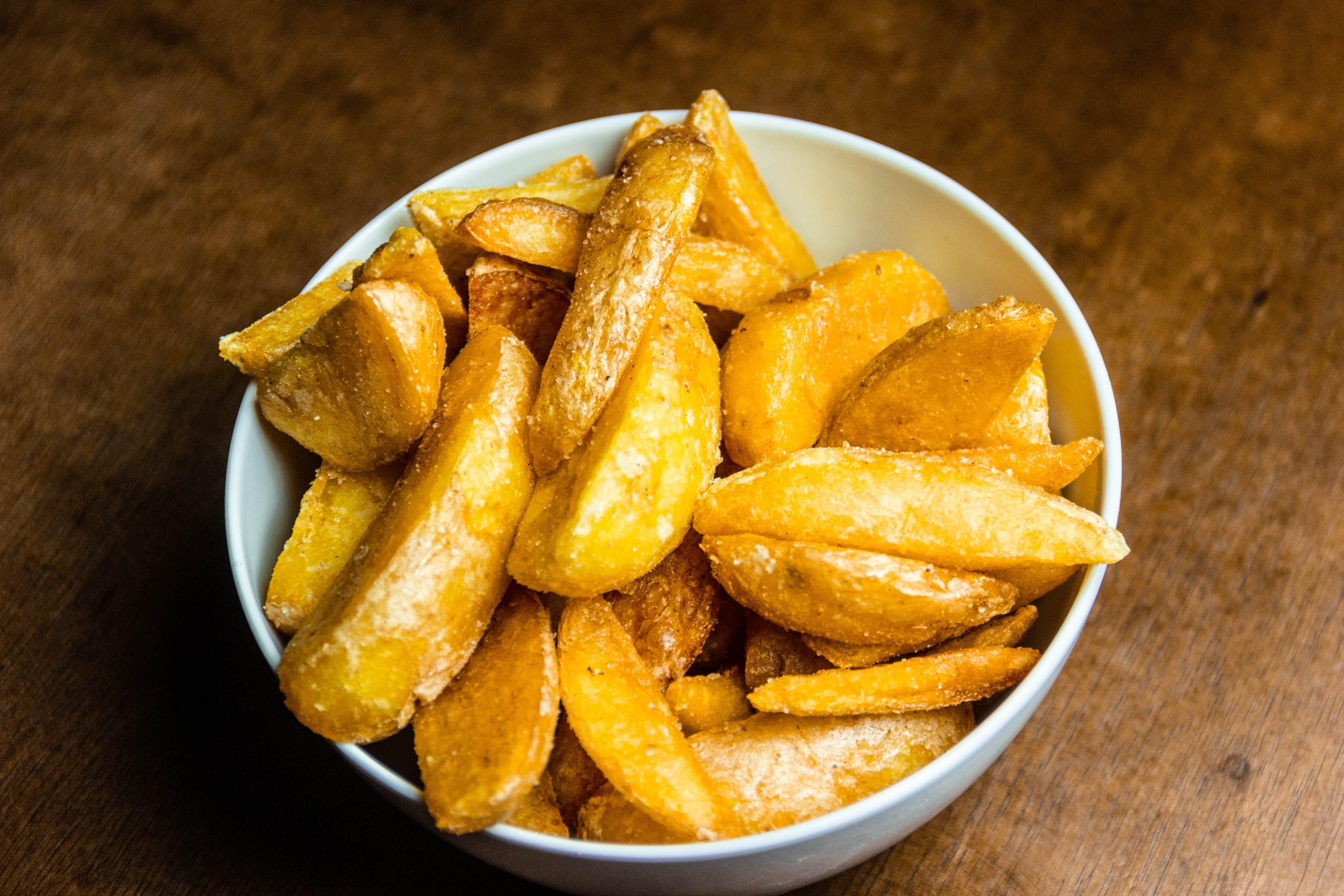 fries, potatoes