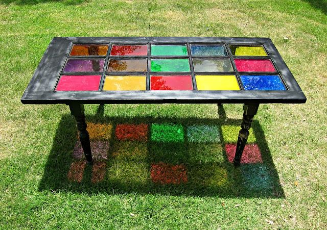 stained glass door table