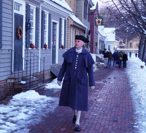 man walking in Colonial Williamsburg