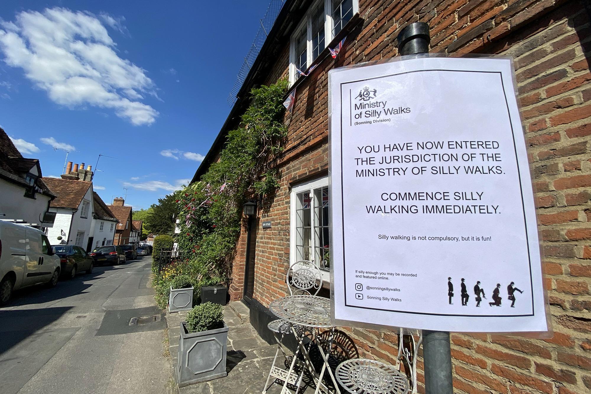 Monty Python Silly Walk yard sign
