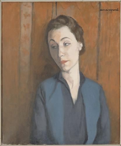 """""""La femme en blue"""" by Pierre Léopold Albert Marquet (1875), oil on canvas, part of the collection at Musée d'Art Moderne de la Ville de Paris"""
