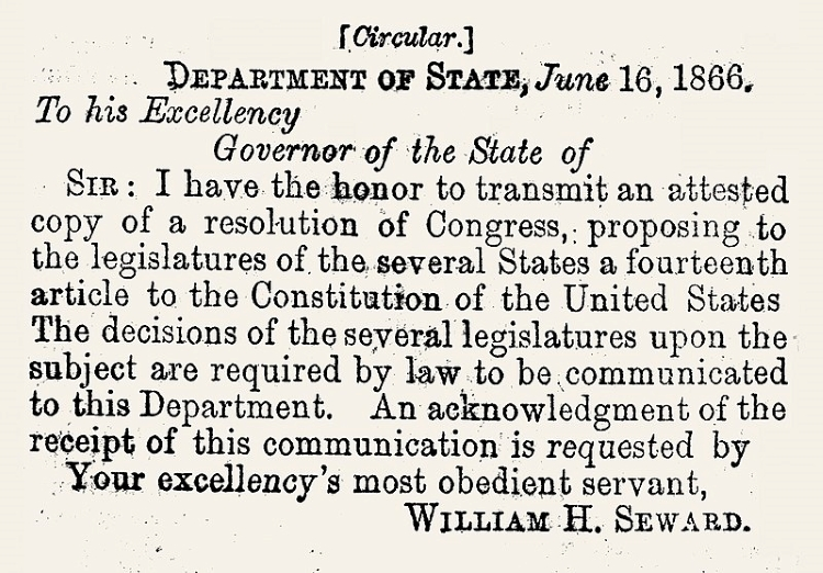 Form of the Letter of Transmittal of the Fourteenth Amendment to the several states for its ratification