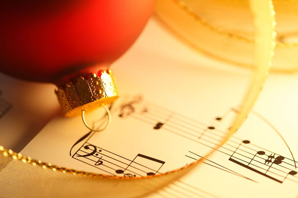 Sheet Music and Christmas ornament