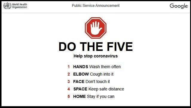 Remember to do the Five Courtesy of Google and World Health Organization