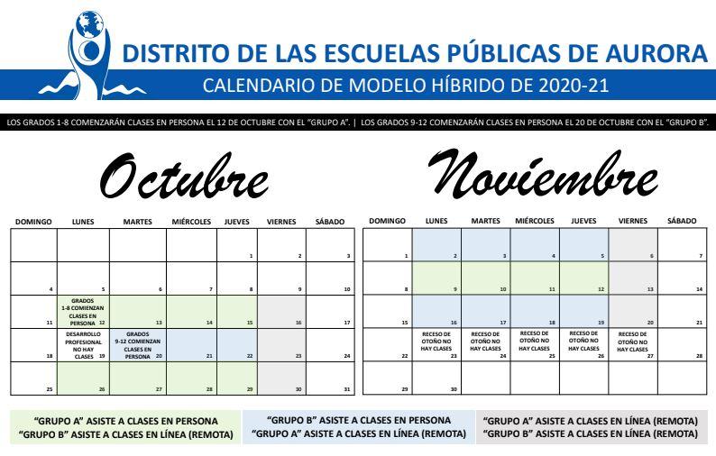 APS calendar Spanish