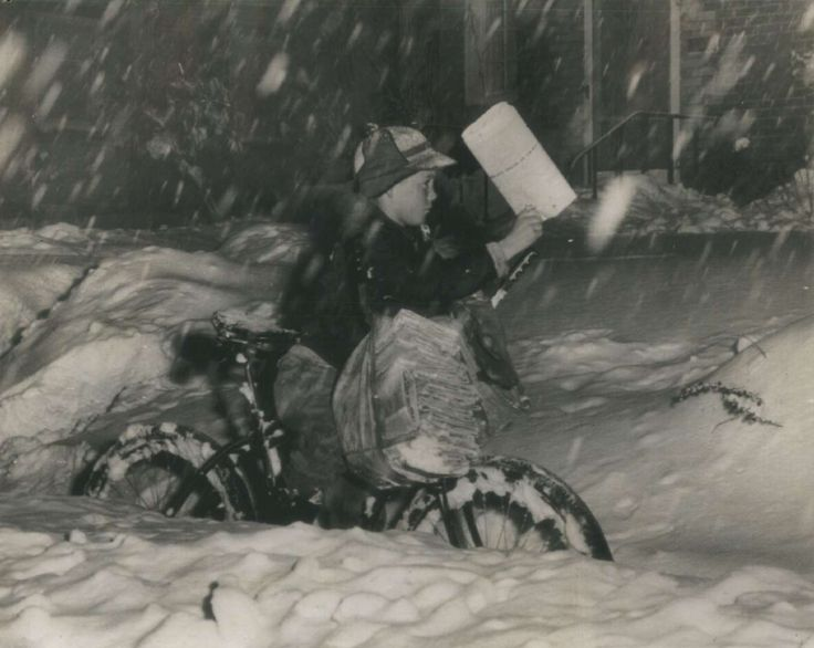 """I used to deliver papers in the snow uphill both ways."" 1946 storm. Courtesy of AP File Photo."
