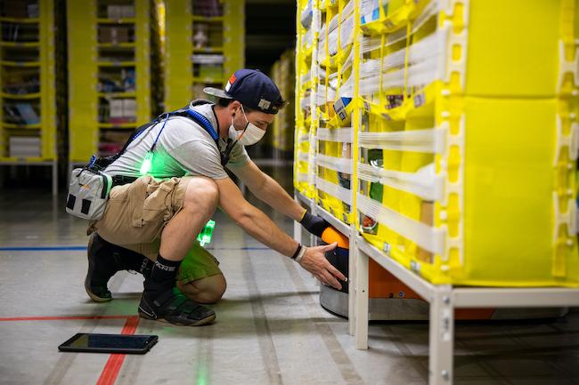Amazon employee wearing PPE