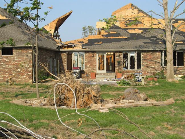 home with tornado damage