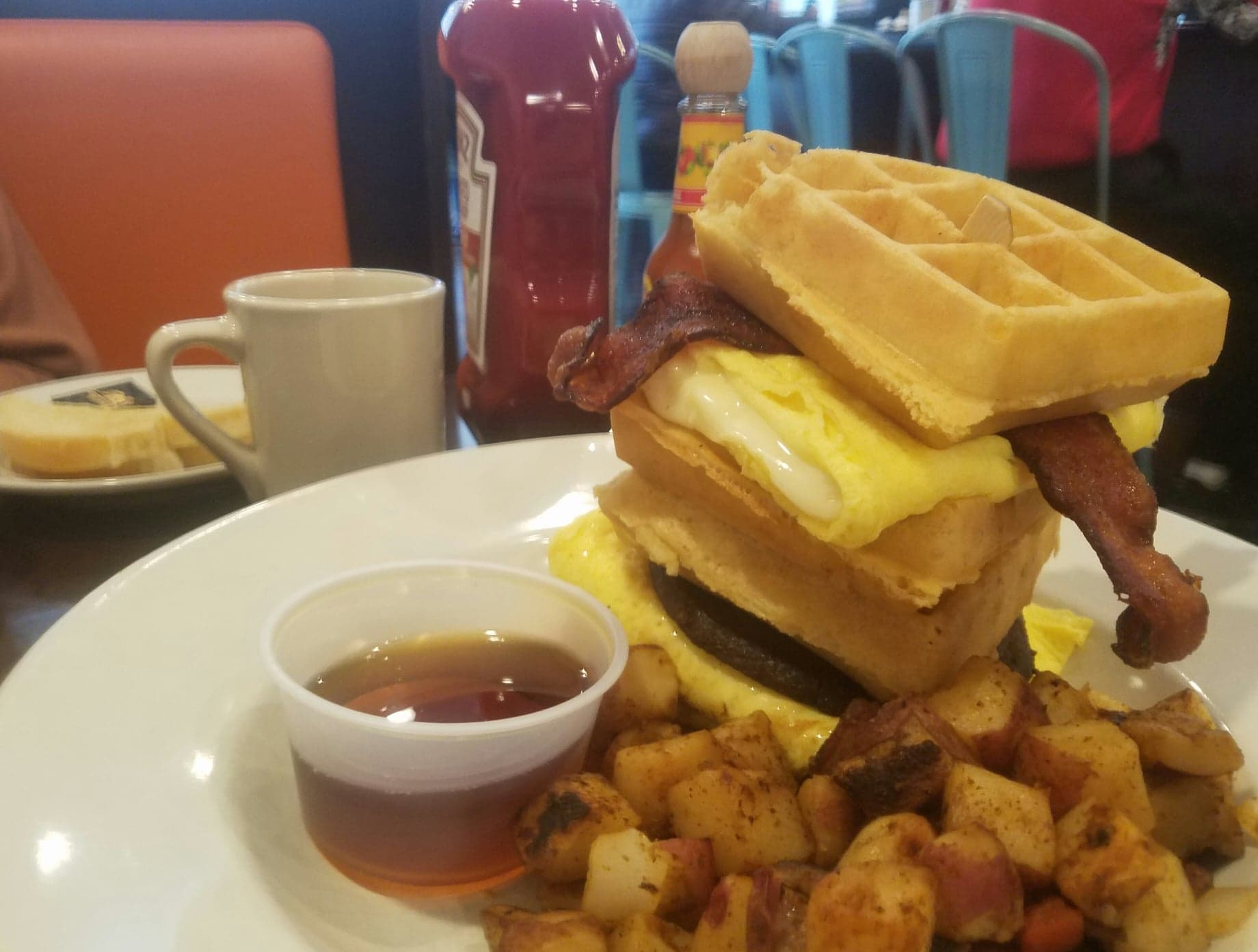 breakfast club sandwich, waffles