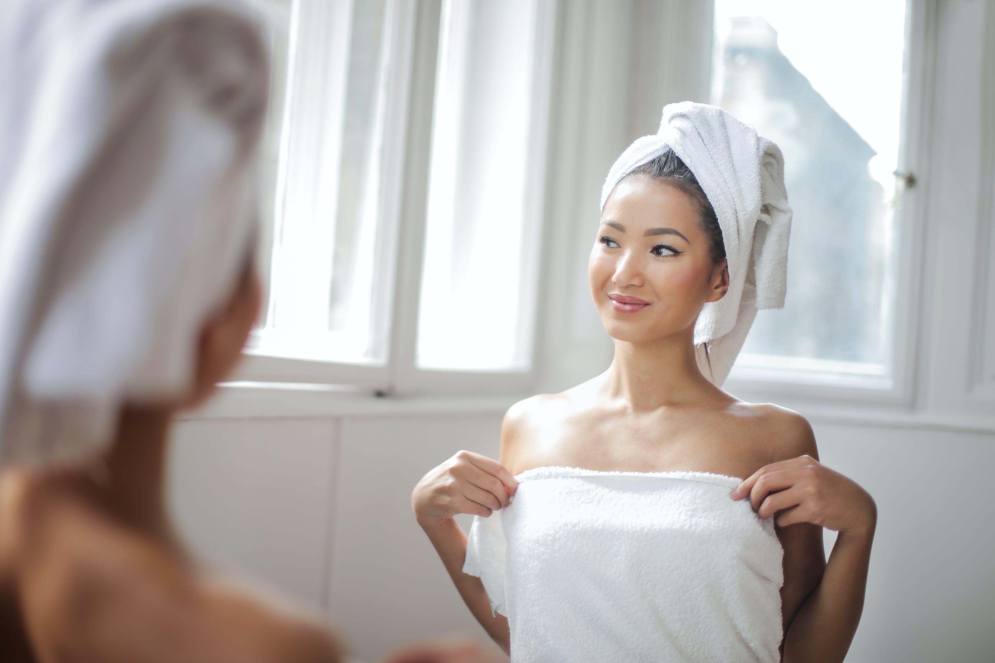 towel, woman
