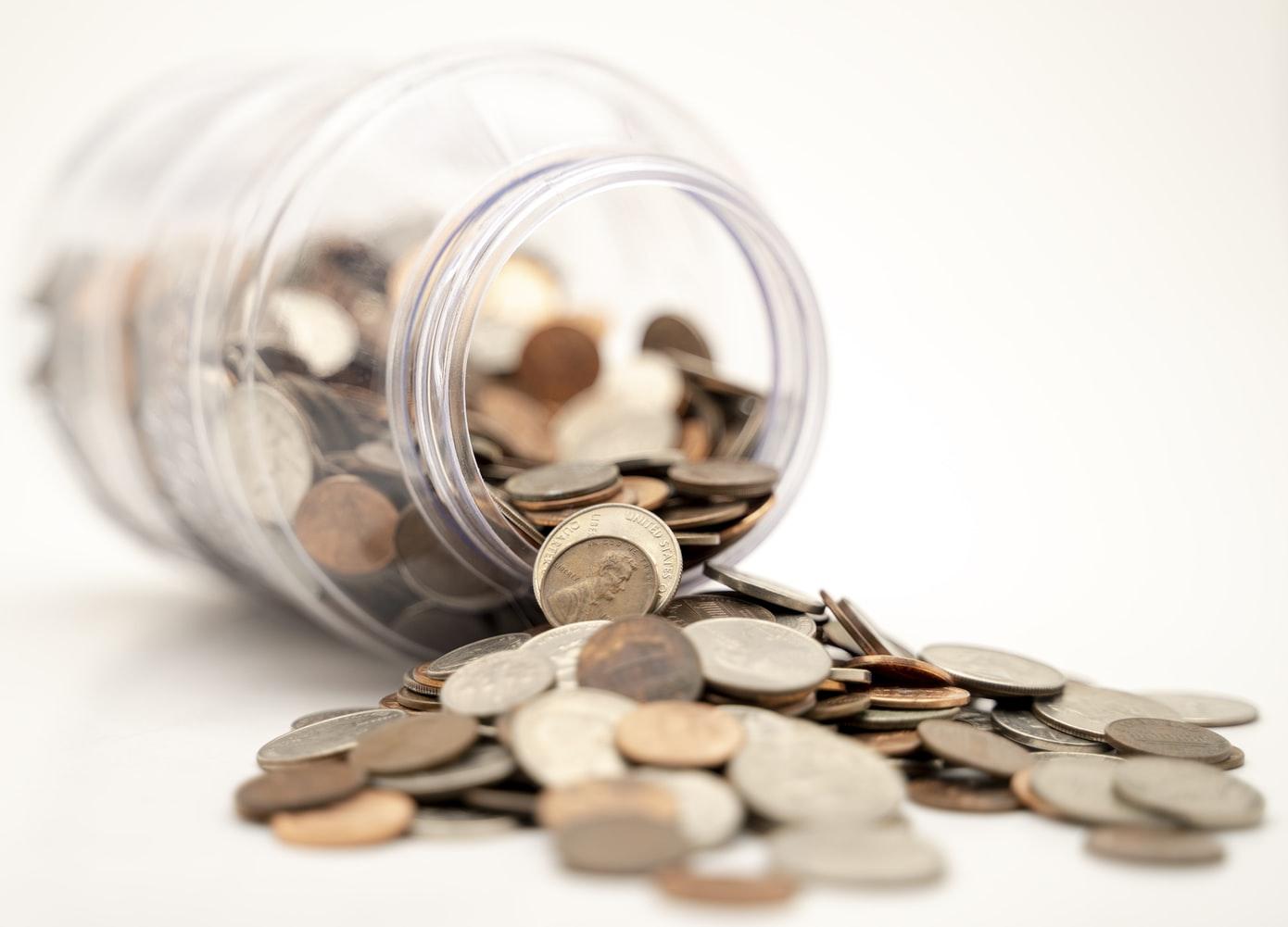 coins, jar