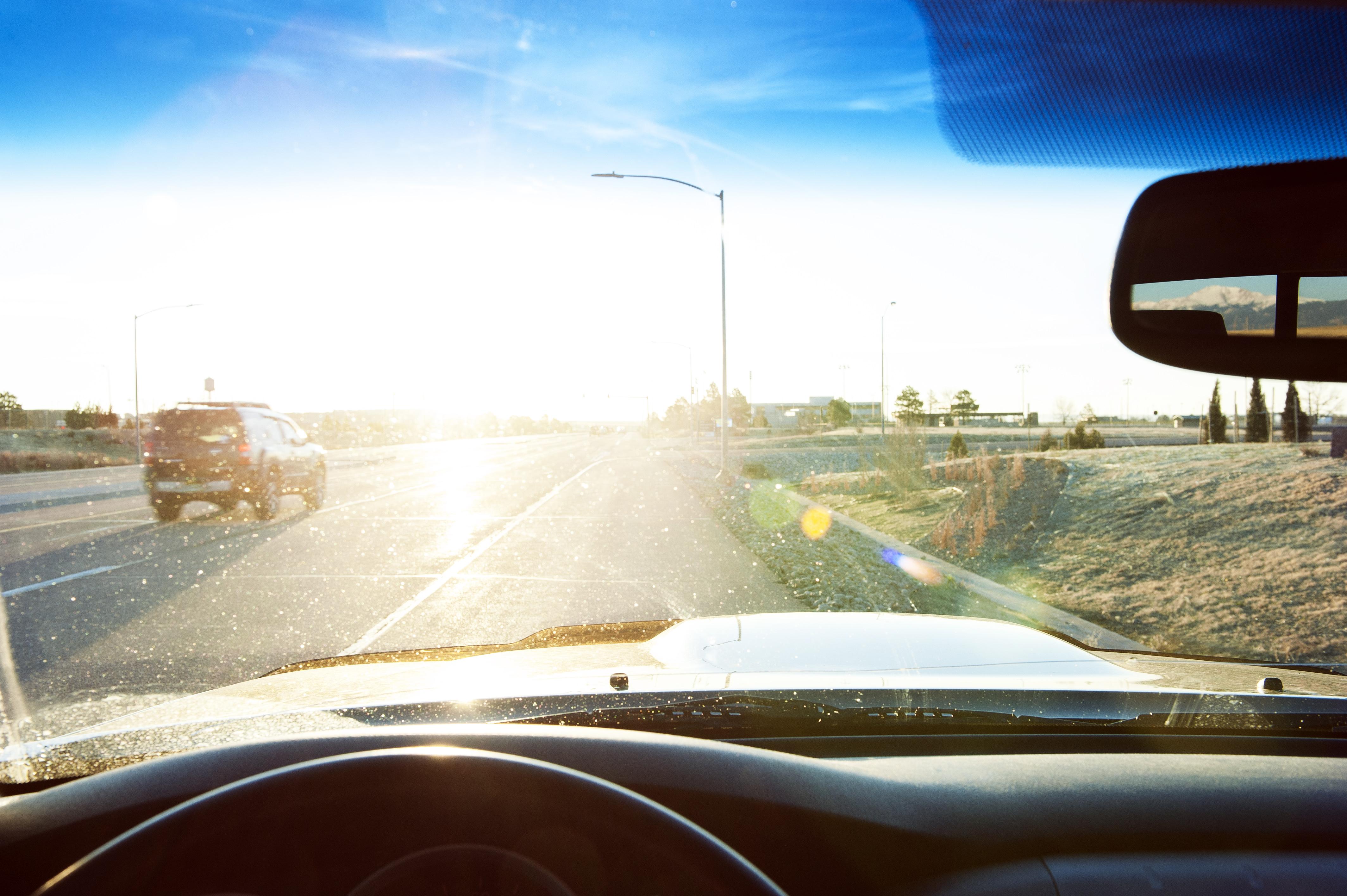 driving in sun glare