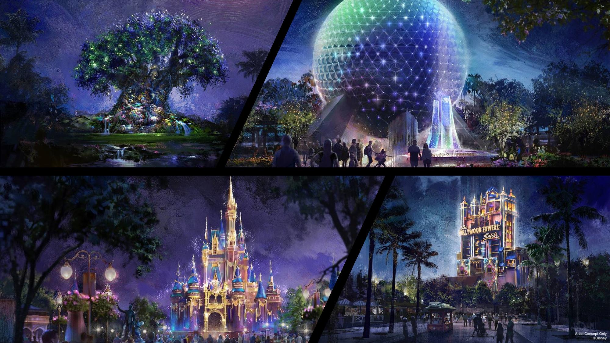 Disney World Parks in Glitter