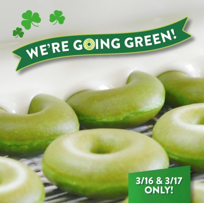 Green doughnuts at Krispy Kreme
