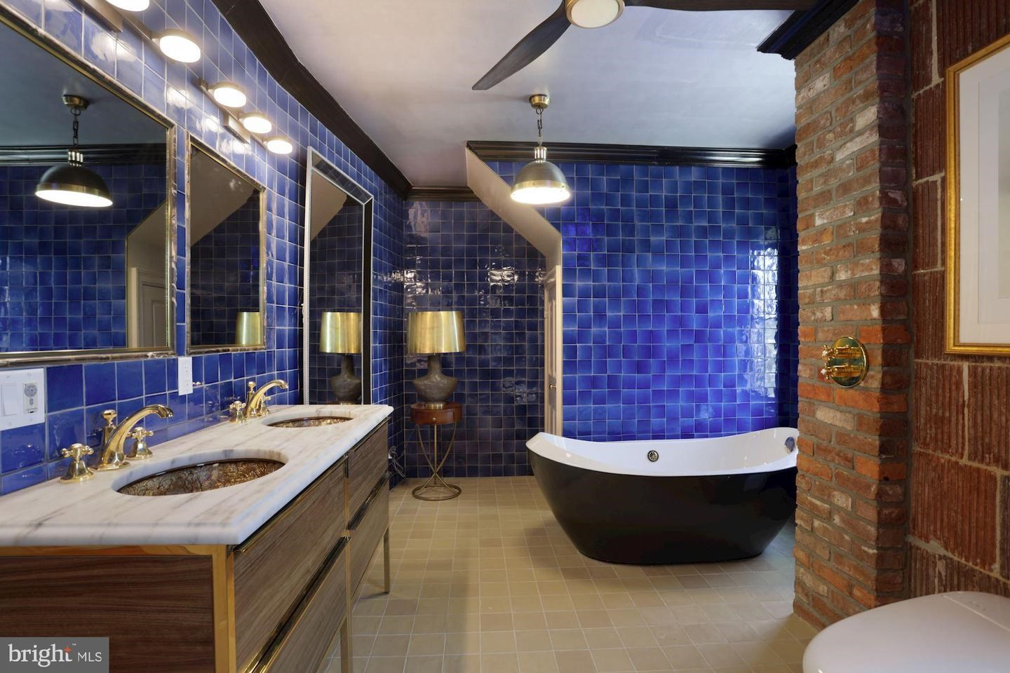 Blue bathroom soaker tub