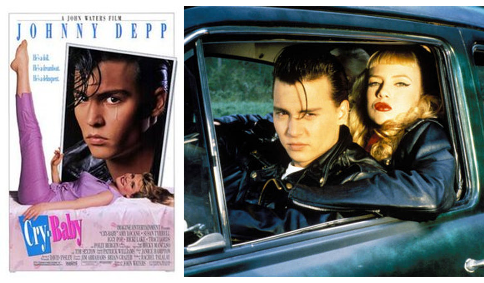 movie cover and male and female actor in a car