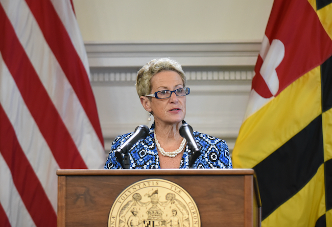 Dr. Karen Salmon speaks at the Maryland State House