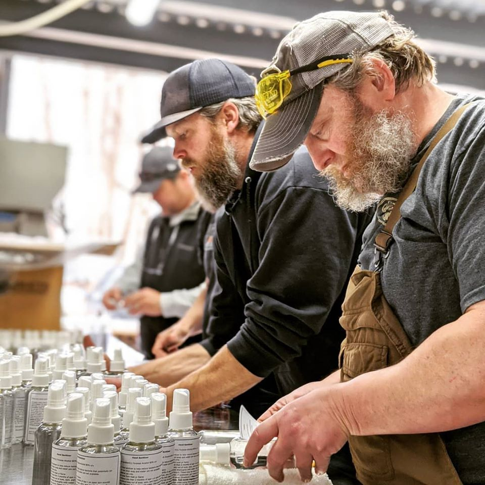 Spirit Hound Distillers making hand sanitizer