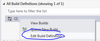 Edit build definition