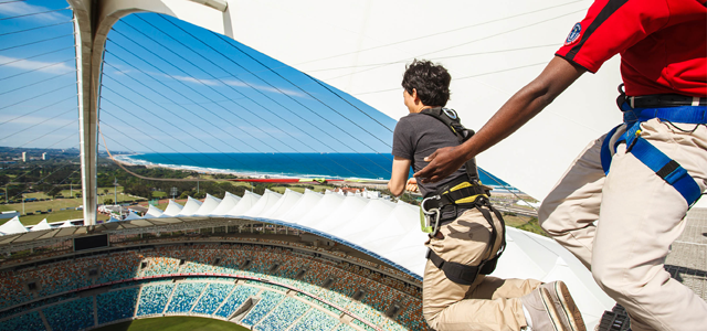 For the ultimate ride of your life try the 'Big Rush Big Swing' at Moses Mabhida Stadium. It is a must-do fun activity that has been certified as the 'World's Tallest Swing' by Guinness World Records since 14 May 2011. Jump into the void at 106m above the World Cup Football pitch and do a freefall for 80m before swinging out into an insane 220m arc.