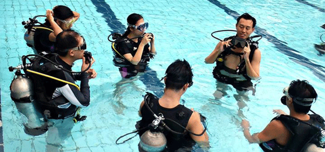 Introduction to scuba diving in a swimming pool allows you to experience the basics of diving at the convenience of a local swimming pool under the supervision of a professional. During the introduction to scuba diving, you'll be exposed to the various equipment and scuba skills which would be very informative should you decide to pursue an open-water scuba diver's course.