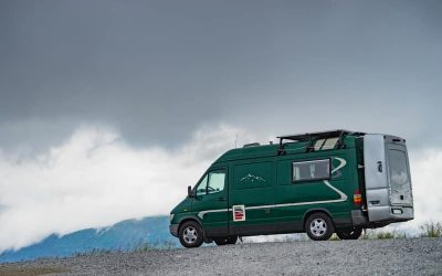 RV camping in the rain