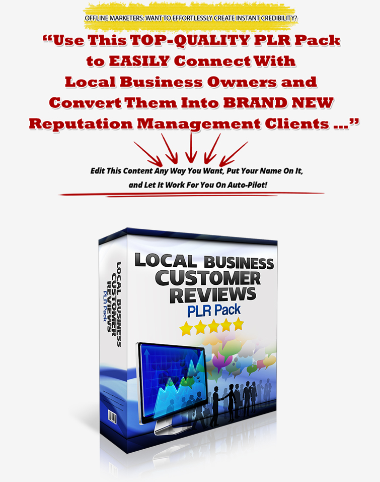 Offline Customer Reviews PLR Pack – HOT Reputation Management PLR to Help You Get New Clients!