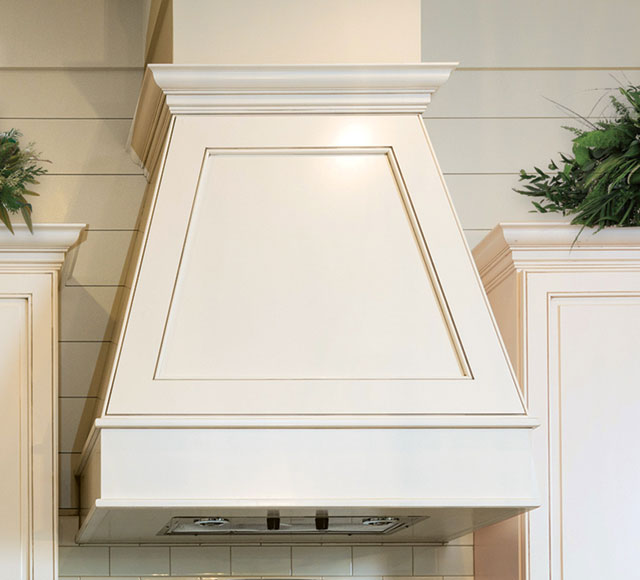 White Angled Contemporary wood range hood
