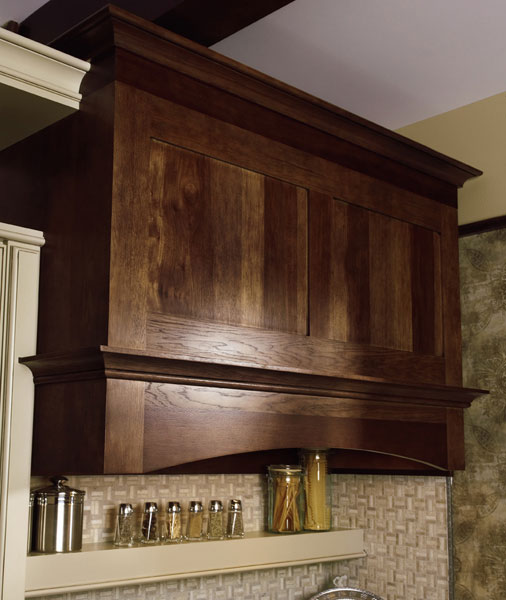 Transitional Wood range Hood cabinet Stained