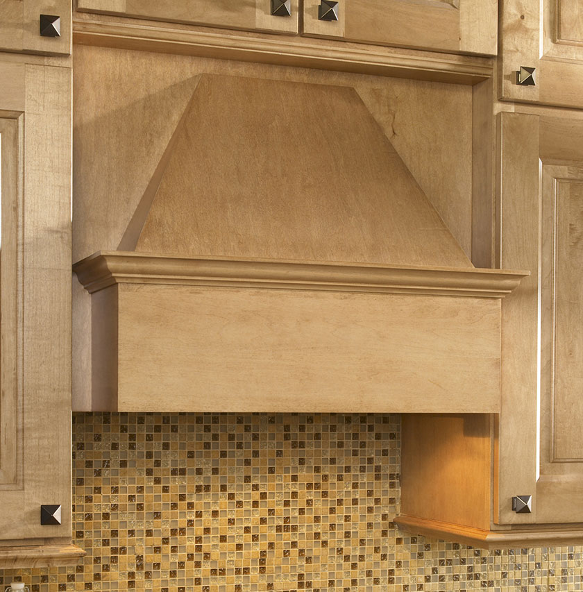 Plain integral wood range hood cabinet