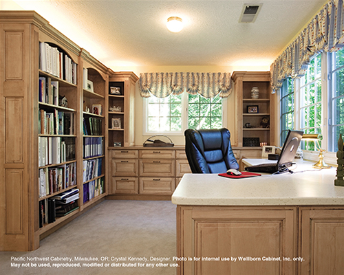 This 1st place office design idea was created by Crystal Kennedy. The design includes a wealth of file cabinets, bookcases and a desk with hidden electronics.