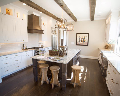 This 1st place small kitchen design idea is beautiful, culinary functional and inviting. It provides for the needs of a busy family who loves entertaining.
