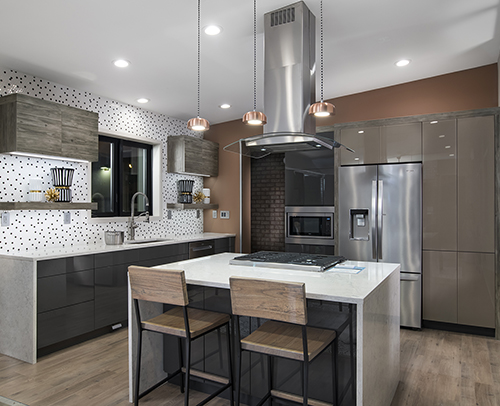 Kitchen photo of cabinetry and Island in Show Village, Modern Home