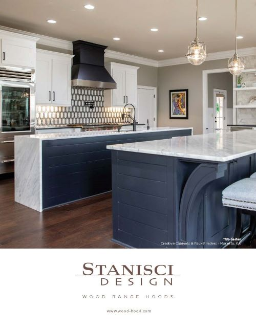 Beautiful driftwood color kitchen with Wood Range Hood one of many from Stanisci Design