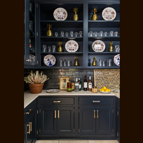 BUTLERS PANTRY - HENLOW SQUARE INSET BEADED, MAPLE, BLEU BRONZE