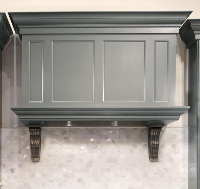 Mid-tone Gray Mantle range hood cabinet