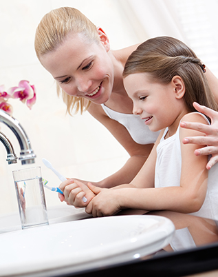 Family- Mom and daughter in Bathroom - Customers matter