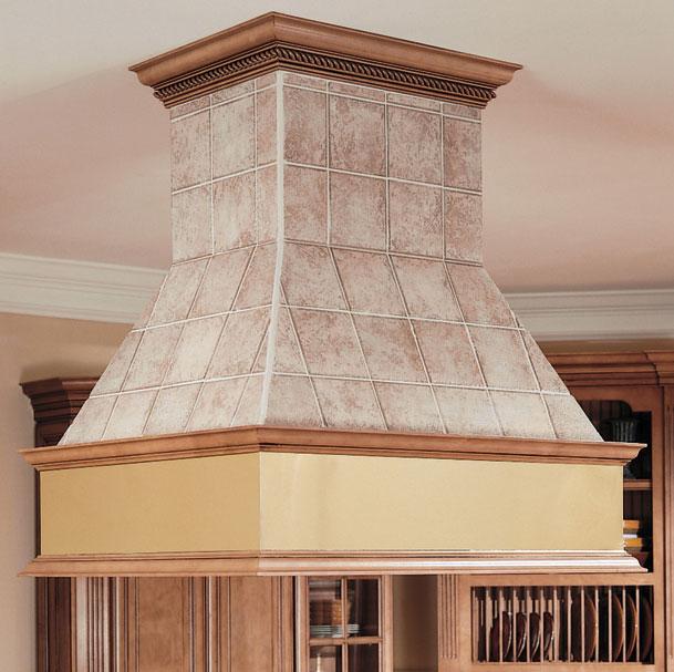 Designer Chimney Style Island Peninsula hood designed with field-applied tile