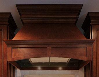 Plain Chimney wood range hood cabinet narrow arch valance