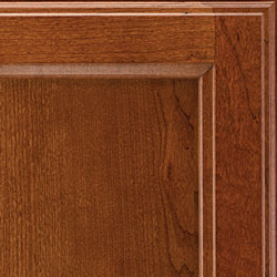 Cherry hardwood corner showing tiny pin knots, pitch pockets and very small, dark streaks of gum.